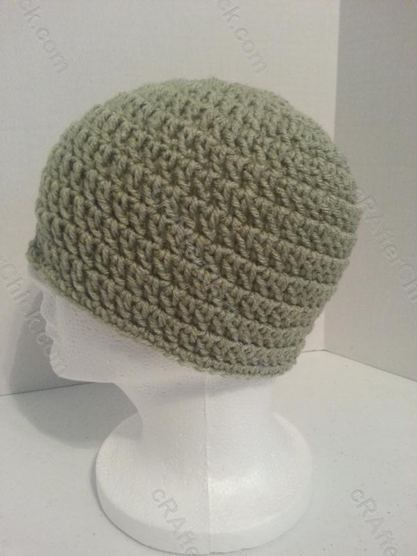 How To Crochet A Beanie : Easy Peasy Large Adult / Men Sized Double Crochet Beanie Pattern