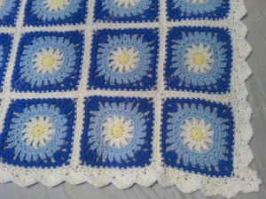 Blue Daisy Square Crochet Blanket Project