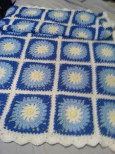 Blue Daisy Square Crochet Blanket Project 2