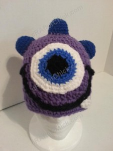 Parkers Purple Monster Beanie Hat Crochet Pattern Front View when Worn