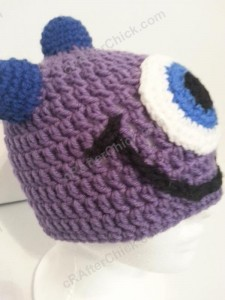 Parker's One Eyed Purple Monster Beanie Hat Crochet Pattern Right Profile
