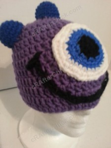 Parker's One Eyed Purple Monster Beanie Hat Crochet Pattern Right Front View