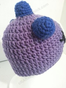 Parker's One Eyed Purple Monster Beanie Hat Crochet Pattern Right Back View