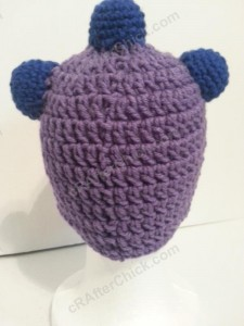 Parker's One Eyed Purple Monster Beanie Hat Crochet Pattern Rear View