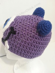 Parker's One Eyed Purple Monster Beanie Hat Crochet Pattern Left Profile View - free crochet monster hat