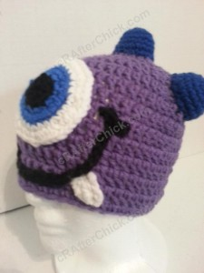 Parkers Purple Monster Beanie Hat Crochet Pattern Front Left View