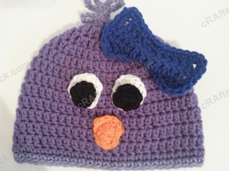 Rochelles Pretty Purple Chick Beanie Hat Crochet Pattern