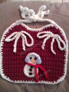 Easy Baby Bib with Contrast Trim Crochet Pattern Christmas Snowman
