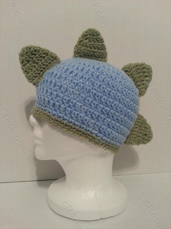 Free Crochet Pattern For Dinosaur Beanie : Gavins DinoRAWR Spiked Beanie Hat Crochet Pattern ...