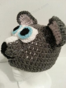 Baby Wolf Crochet Beanie Hat Pattern Front Side View Picture