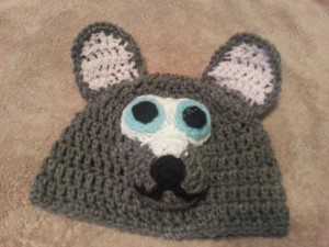Baby Wolf Crochet Beanie Hat Pattern Front View of Hat Laying Flat