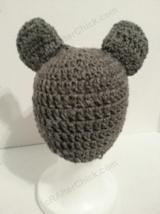 Baby Wolf Crochet Beanie Hat Pattern Rear View