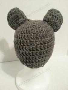 Baby Wolf Crochet Beanie Hat Pattern Rear View