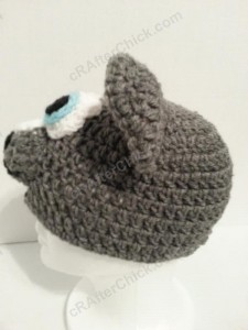 Baby Wolf Crochet Beanie Hat Pattern Side On View