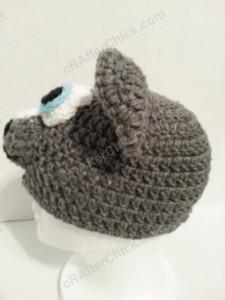 Baby Wolf Crochet Beanie Hat Pattern Side On View