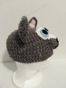 Baby Wolf Crochet Beanie Hat Pattern Side Profile