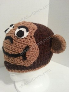 Curious George Book Reading Time Beanie Hat Crochet Pattern Front Left View