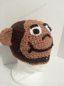 Curious George Book Reading Time Beanie Hat Crochet Pattern Front Right View