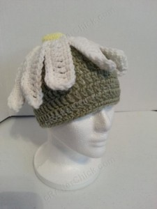 Giant Daisy Beanie Hat Crochet Pattern Front Right Side View