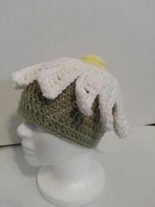 Giant Daisy Beanie Hat Crochet Pattern Left Side View