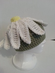 Giant Daisy Beanie Hat Crochet Pattern Right Side Profile