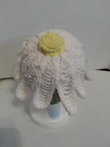 Giant Daisy Beanie Hat Crochet Pattern View from Behind