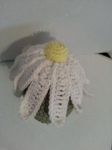 Giant Daisy Beanie Hat Crochet Pattern from top view