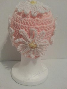 Head Full of Daisies Beanie Hat Crochet Pattern From Behind View