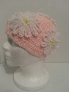 Head Full of Daisies Beanie Hat Crochet Pattern Left Side Profile