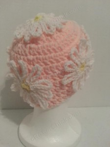 Head Full of Daisies Beanie Hat Crochet Pattern Right Back View