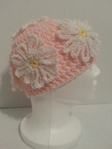 Head Full of Daisies Beanie Hat Crochet Pattern Right Side View