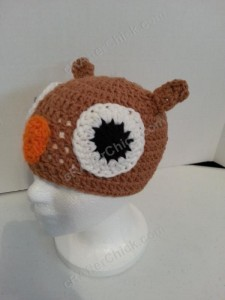 Hootie the Wise Owl Beanie Hat Crochet Pattern Front Left View