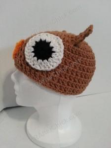 Hootie the Wise Owl Beanie Hat Crochet Pattern Left Side View