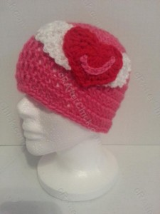 Jordan's Pink Angels Beanie Hat Crochet Pattern Front Left View