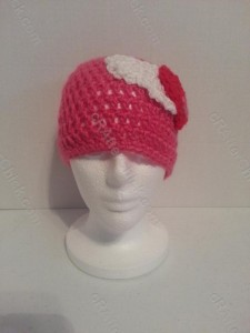 Jordan's Pink Angels Beanie Hat Crochet Pattern Front View