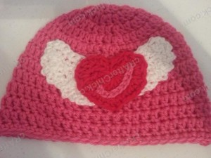Jordan's Pink Angels Beanie Hat Crochet Pattern Laying Flat View