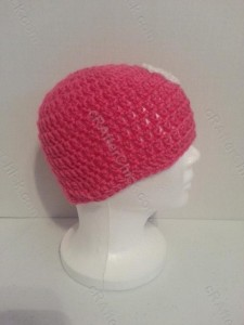 Jordan's Pink Angels Beanie Hat Crochet Pattern Right Profile View