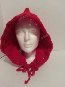 Little Red Riding Hood Crochet pattern front view crocheted hood