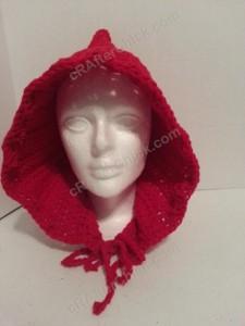Little Red Riding Hood Crochet pattern front view crocheted hood