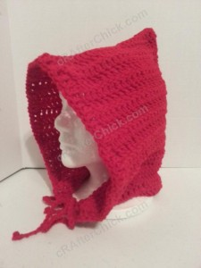 Little Red Riding Hood Crocheted hood crochet pattern side profile
