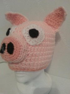 Three Little Pig Storytime Crochet Beanie Pattern Front Left View