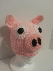 Three Little Pig Storytime Crochet Beanie Pattern Front Right View