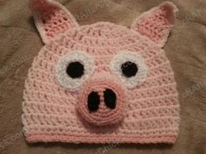 Three Little Pig Storytime Crochet Beanie Pattern Laying Flat Not Worn