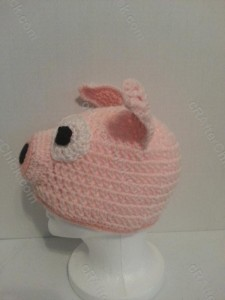 Three Little Pig Storytime Crochet Beanie Pattern Left Side Profile View