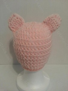 Three Little Pig Storytime Crochet Beanie Pattern Rear View