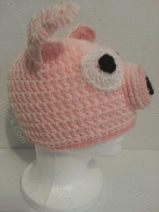 Three Little Pig Storytime Crochet Beanie Pattern Right Profile View