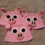 Three Little Pig(gie)s Beanie Hat Set Crochet Pattern