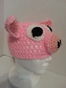 Three Little Pigs Beanie Hat Crochet Pattern Fronr Right View