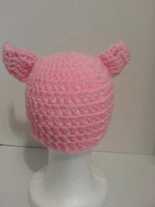 Three Little Pigs Beanie Hat Crochet Pattern Rear View
