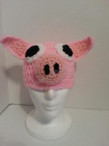 Three Little Pigs Beanie Hat Crochet Pattern Straight On View